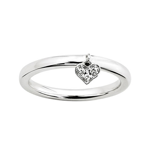 Personally Stackable Diamond-Accent Sterling Silver Heart Charm Ring