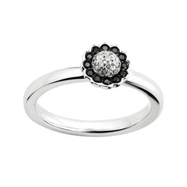 jcpenney.com | Personally Stackable 1/7 CT. T.W. White and Color-Enhanced Black Diamond Flower Ring