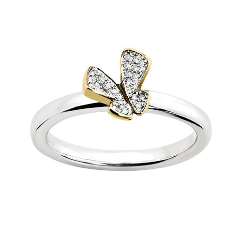 Personally Stackable Diamond-Accent Butterfly Ring