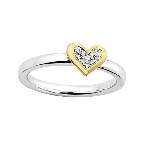 Personally Stackable Diamond-Accent Heart Ring