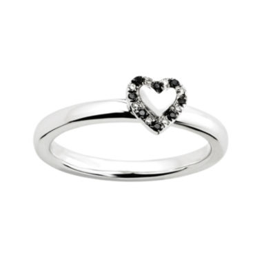 jcpenney.com | Personally Stackable White and Color-Enhanced Black Diamond-Accent Heart Ring