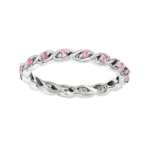 Personally Stackable Lab-Created Pink Sapphire Twisted Eternity Ring