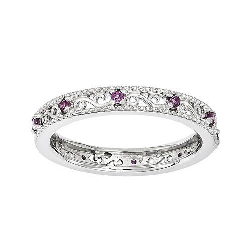 Personally Stackable Genuine Rhodolite Garnet Filigree Eternity Ring