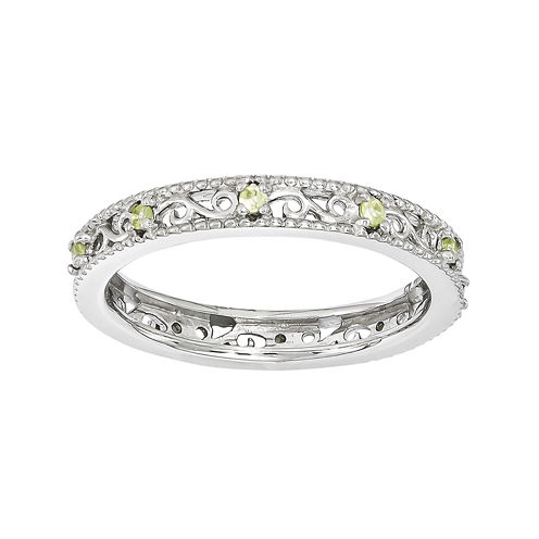 Personally Stackable Genuine Peridot Filigree Eternity Ring