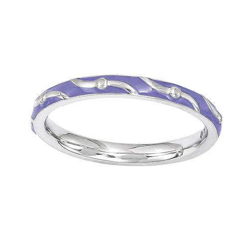 Personally Stackable Purple Enamel Striped Sterling Silver Ring