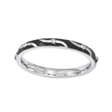 jcpenney.com | Personally Stackable Black Enamel Striped Sterling Silver Ring