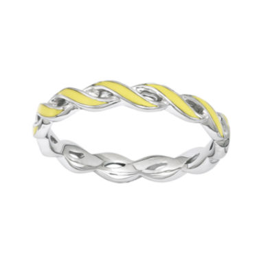jcpenney.com | Personally Stackable Yellow Enamel Twist Sterling Silver Ring