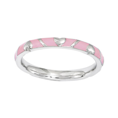 jcpenney.com | Personally Stackable Pink Enamel Heart Sterling Silver Ring