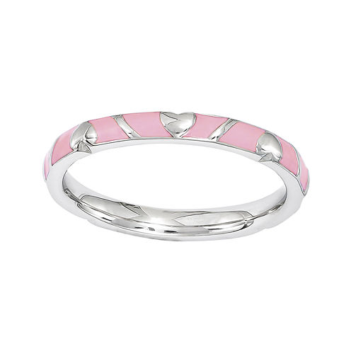 Personally Stackable Pink Enamel Heart Sterling Silver Ring