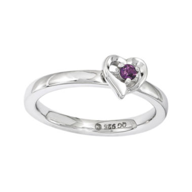 jcpenney.com | Personally Stackable Genuine Rhodolite Garnet Sterling Silver Heart Ring