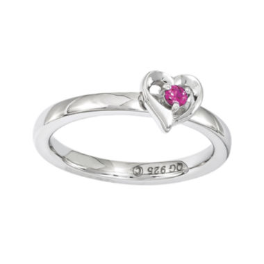 jcpenney.com | Personally Stackable Lab-Created Ruby Sterling Silver Heart Ring