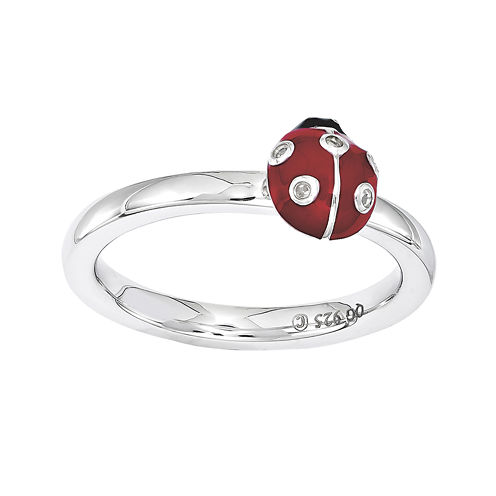 Personally Stackable Diamond-Accent Enamel Ladybug Ring