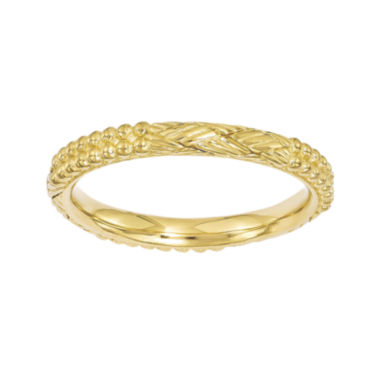 jcpenney.com | Personally Stackable 18K Yellow Gold Over Sterling Silver Patterned Ring