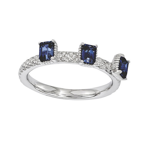Personally Stackable Lab-Created Sapphire Textured 3-Stone Ring