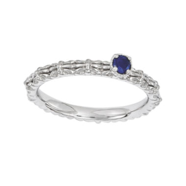 jcpenney.com | Personally Stackable Lab-Created Sapphire Floral Band Ring