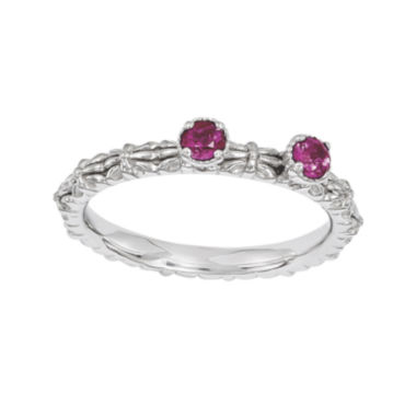 jcpenney.com | Personally Stackable Lab-Created Ruby 2-Stone Floral Band Ring