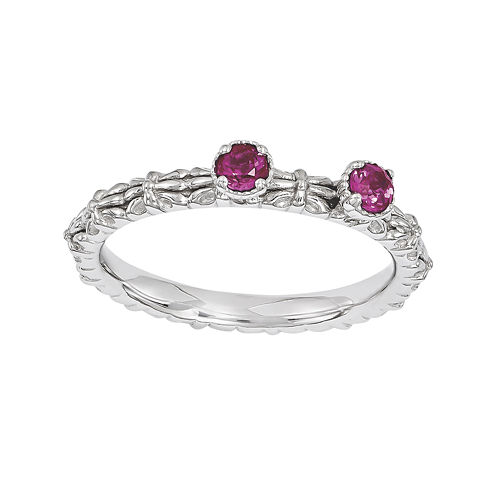 Personally Stackable Lab-Created Ruby 2-Stone Floral Band Ring