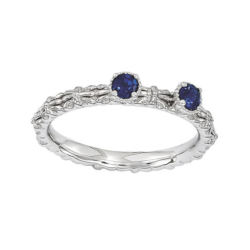 Personally Stackable Lab-Created Sapphire 2-Stone Floral Band Ring