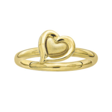 jcpenney.com | Personally Stackable 18K Yellow Gold Over Sterling Silver 2-Heart Ring