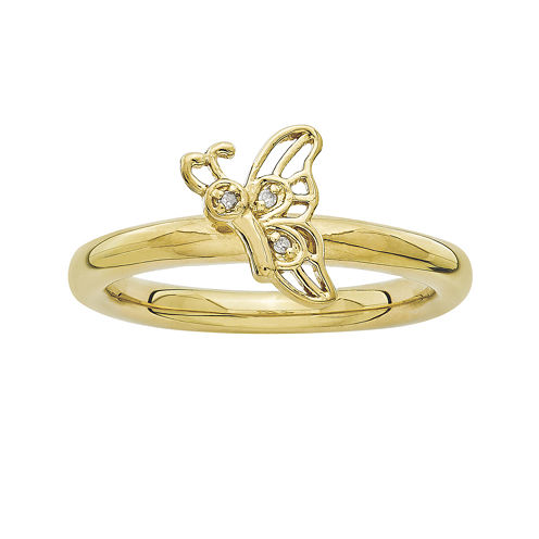 Personally Stackable DA 18K Yellow Gold Over Sterling Silver Butterfly Ring