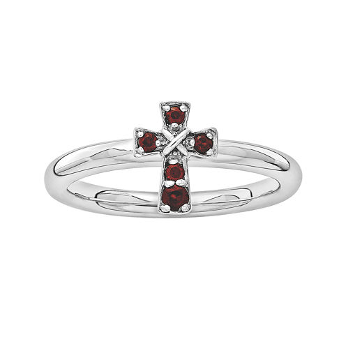 Personally Stackable Genuine Garnet Sterling Silver Cross Ring