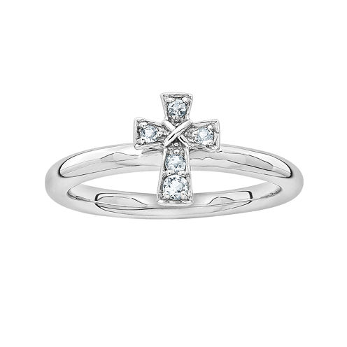 Personally Stackable Genuine Aquamarine Sterling Silver Cross Ring