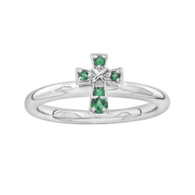 jcpenney.com | Personally Stackable Lab-Created Emerald Sterling Silver Cross Ring