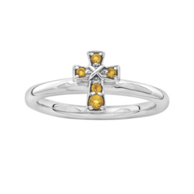 jcpenney.com | Personally Stackable Genuine Citrine Sterling Silver Cross Ring