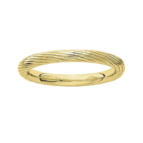 Personally Stackable 18K Yellow Gold Over Sterling Silver Ribbed Ring