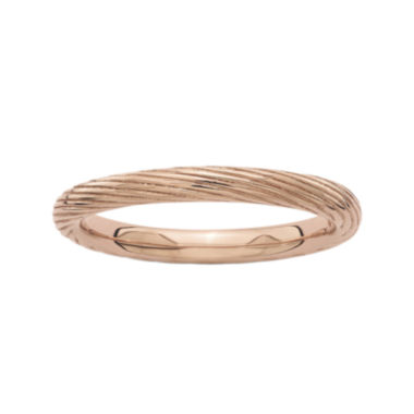 jcpenney.com | Personally Stackable 18K Rose Gold Over Sterling Silver Ribbed Ring