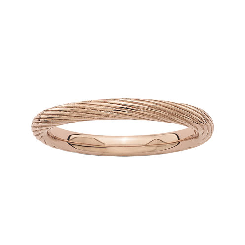 Personally Stackable 18K Rose Gold Over Sterling Silver Ribbed Ring