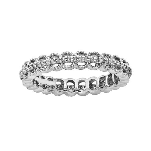 Personally Stackable 1/5 CT. T.W. Sterling Silver Open-Link Ring