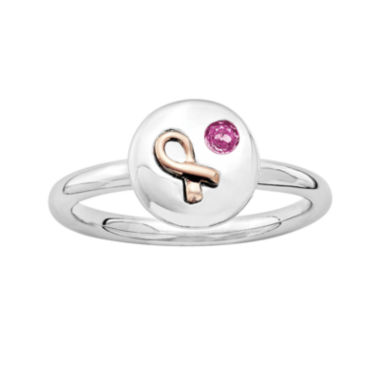jcpenney.com | Personally Stackable Genuine Pink Sapphire Two-Tone Awareness Ribbon Disc Ring