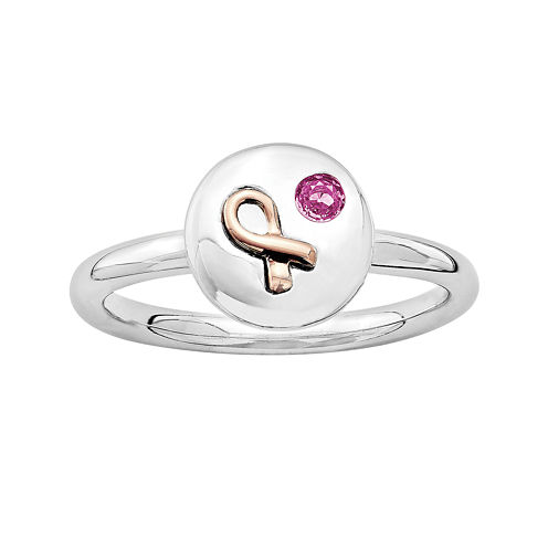 Personally Stackable Genuine Pink Sapphire Two-Tone Awareness Ribbon Disc Ring
