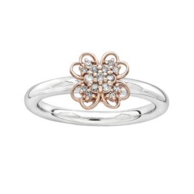 jcpenney.com | Personally Stackable 1/10 CT. T.W. Diamond Two-Tone Flower Ring
