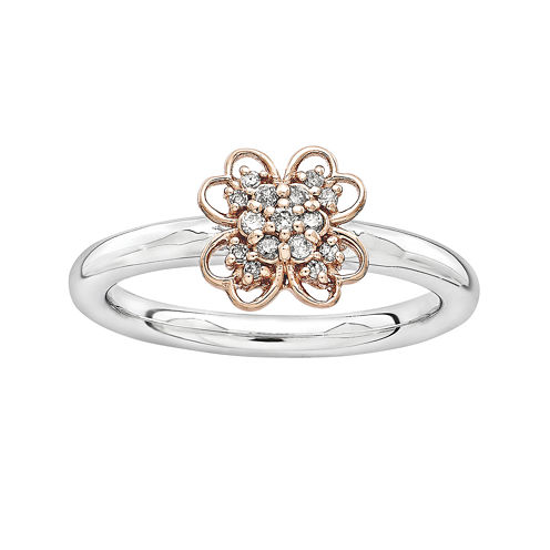 Personally Stackable 1/10 CT. T.W. Diamond Two-Tone Flower Ring