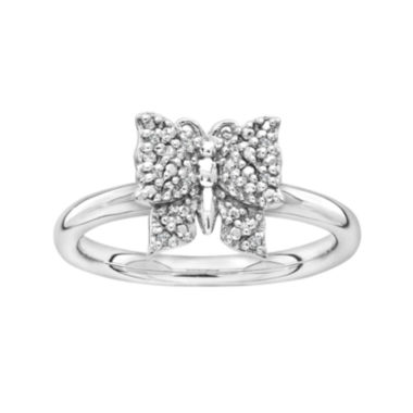 jcpenney.com | Personally Stackable Diamond-Accent Sterling Silver Butterfly Ring