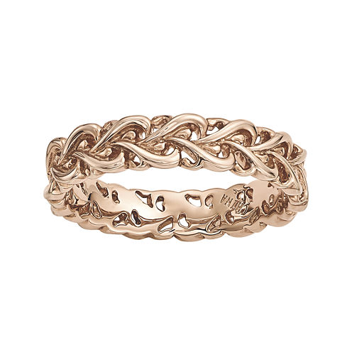 Personally Stackable 18K Rose Gold Over Sterling Silver Interlocking Heart Ring