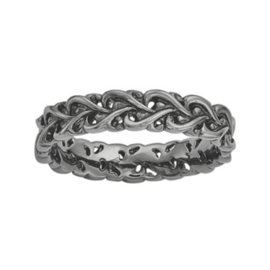 jcpenney.com | Personally Stackable Black Sterling Silver Interlocking Heart Ring