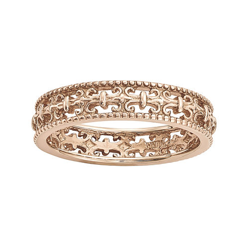 Personally Stackable 18K Rose Gold Over Sterling Silver Fleur-de-Lis Ring