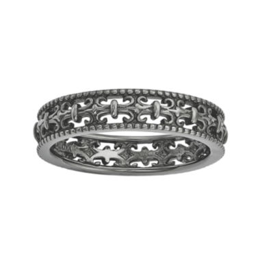 jcpenney.com | Personally Stackable Black Sterling Silver Fleur-de-Lis Ring
