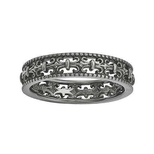 Personally Stackable Black Sterling Silver Fleur-de-Lis Ring