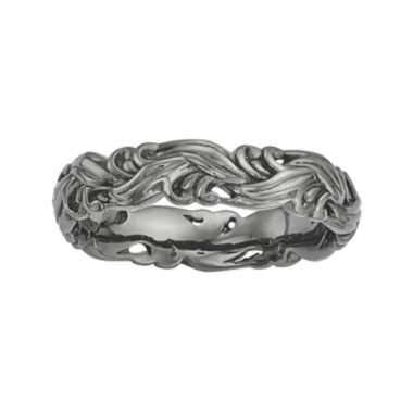 jcpenney.com | Personally Stackable Black Sterling Silver Carved Wave Ring