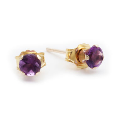 jcpenney.com | Genuine 4mm Amethyst 10K Yellow Gold Stud Earrings