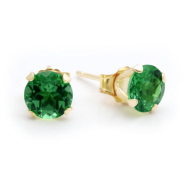 jcpenney.com | Lab-Created 6mm Emerald 10K Yellow Gold Stud Earrings