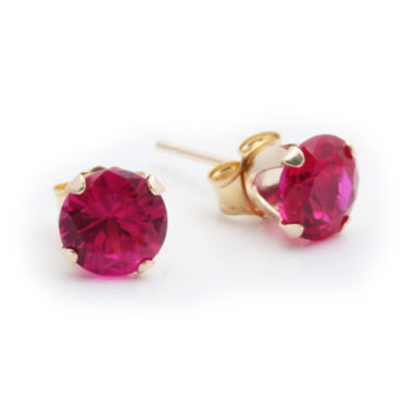 jcpenney.com | Lab-Created 6mm Ruby 10K Yellow Gold Stud Earrings