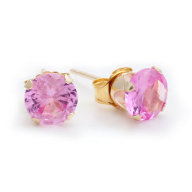 jcpenney.com | 10K Yellow Gold Lab-Created Pink Sapphire 6mm Stud Earrings