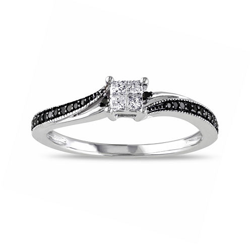 Midnight Black Diamond 1/5 CT. T.W. White & Color-Enhanced Black Diamond 10K White Gold Ring