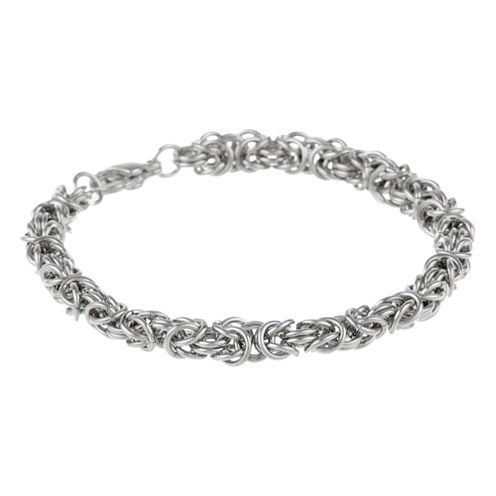 "Mens Stainless Steel 9"" 7mm Byzantine Bracelet"