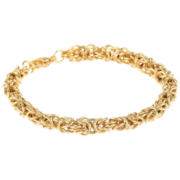 "Mens Stainless Steel & Gold-Tone IP 8"" 7mm Byzantine Bracelet"